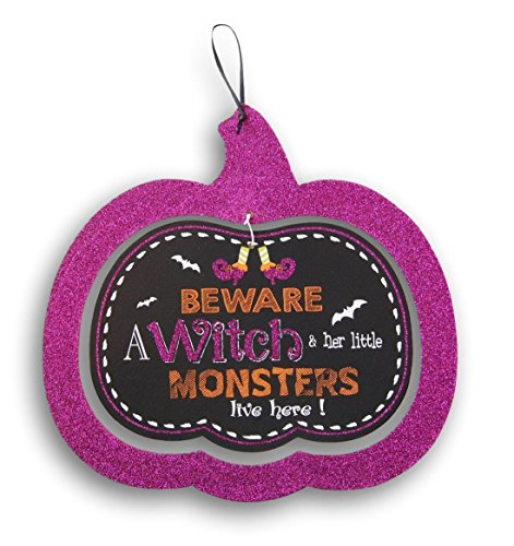 Halloween Decorative Glittery Hanging Sign - Beware - A Witch & Her Little Monsters Live Here! - 11.75 x 11 (Monster Sign)