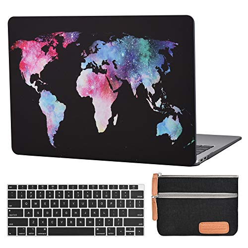 CASE STAR MacBook Air 13 Case A1932 Laptop Plastic Hard Case Cover Protective Sleeve MacBook Air 13 Inch A1932 Keyboard Cover Travelling Electronics Accessories Organizer Small Bag-Map Pattern-Black