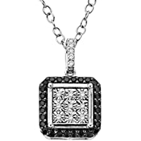 Finecraft 1/5 ct Black & White Diamond Square Pendant
