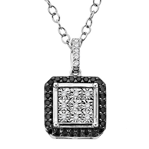 (1/5 ct Black & White Diamond Square Pendant Necklace in Sterling)
