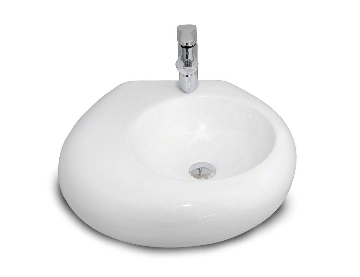 White Rounded Ceramic Basin Bowl   Counter Top Vessel REA SHE  with Tap Hole (555 x 500 x 138 mm)