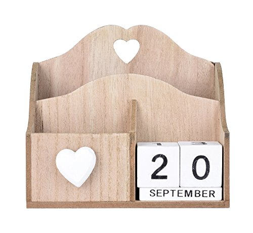 GiftLLC Pen and Pencil Table Holder Mail Storage Box Wooden Perpetual Desk Calendar Decoration ()