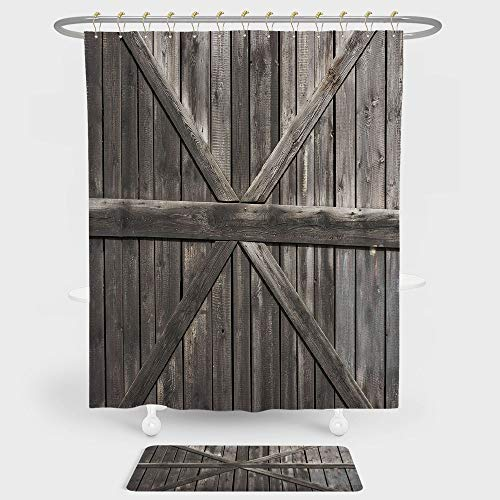 Rustic Shower Curtain And Floor Mat Combination Set Old Wooden Door with Big Cross Design Rustic Country Life Architecture Building Doorway Decorative For decoration and daily use Taupe