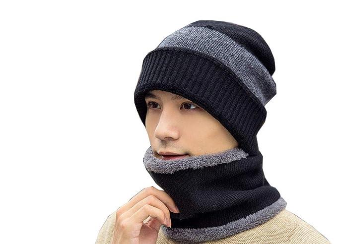 46dd304227f Men s Beanie Hat Scarf Set Knit Hat Warm Thick Winter Hat (Black) at ...