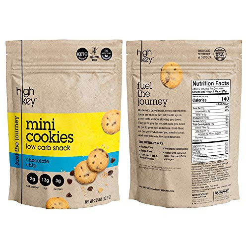 HighKey Snacks Keto Mini Cookies - Chocolate Chip, Pack of 3, 2.25oz Bags - Keto Friendly, Gluten Free, Low Carb, Healthy Snack - Sweet, Diet Friendly Dessert - Ketogenic Food with Natural Ingredients