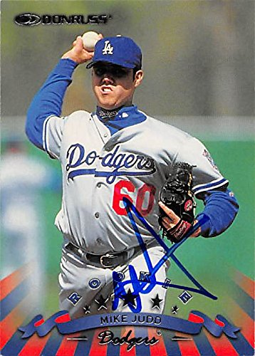 Mike Judd autographed baseball card (Los Angeles Dodgers, FT) 1998 Donruss Rookie #210