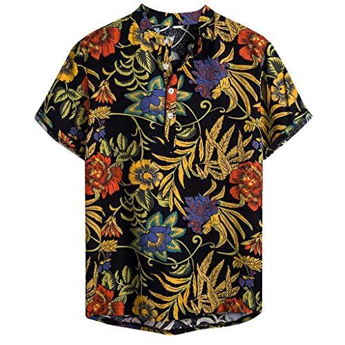 kaifongfu Summer Short Sleeve Button Shirt Mens Multi Color Loose Blouse Lump Chest Pocket Regular Tops Shirt(Yellow,L)