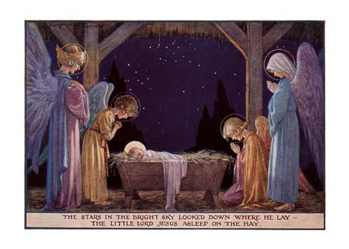 [Angels at manger of Baby Jesus - Christmas Card] (Jesus Christmas Card)