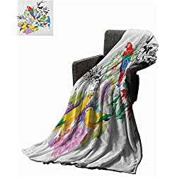 """WilliamsDecor Bed or Couch 50"""" x 30""""Parrot Lightweight Blanket Parrots Observing The World on Top of Floral Foliage Garden Jungle Tropic Bird Print Soft Blanket Microfiber Multicolor"""