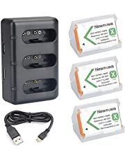 Newmowa NP-BX1 Replacement Battery (3-Pack) and 3-Channel USB Charger Kit for Sony NP-BX1 and Sony DSC-HX50V, DSC-HX80, DSC-HX90, DSC-HX90V, DSC-HX95, DSC-HX99, DSC-HX300, DSC-HX400, DSC-RX1, DSC-RX1R, DSC-RX1R II, DSC-RX100, DSC-RX100 II, DSC-RX100 III, DSC-RX100 IV, DSC-RX100 V, DSC-RX100 VI, DSC-RX100 VII, DSC-RX100 VA, DSC-RX100M6, DSC-RX100M II, DSC-WX300, HDR-AS10, HDR-AS15, HDR-AS30V, HDR-AS50R, HDR-AS100V, HDR-AS100VR, HDR-AS300R, HDR-CX240, HDR-CX405, HDR-MV1, HDR-PJ275, ZV-1