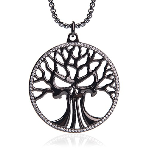 Best Subtle Halloween Costumes (Karseer Religious and Philosophical Sacred Tree Of Life Medallion Wisdom Prophecy Skull CZ Pendant Necklace for Boys and Girls, Box Chain 24