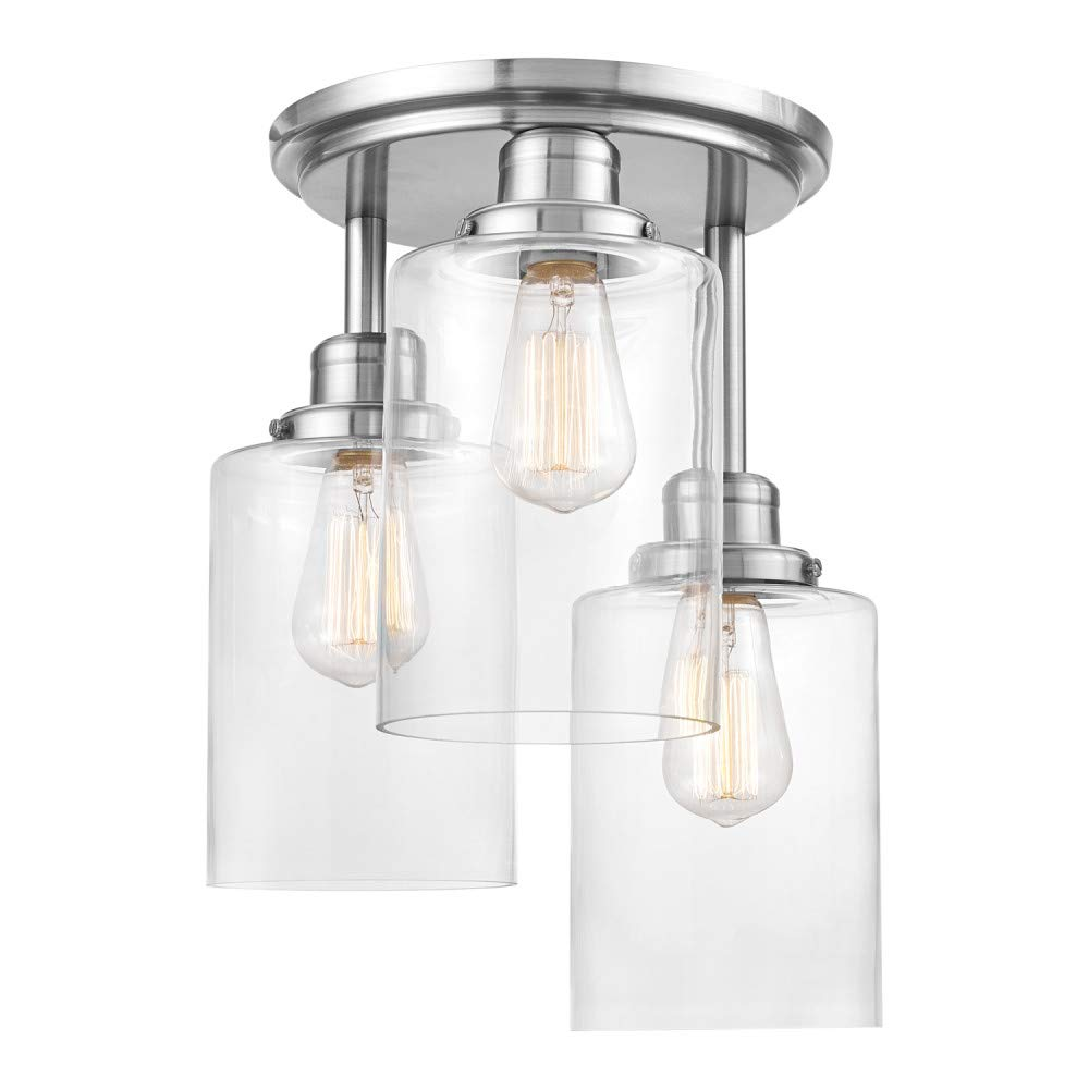 Globe Electric Annecy 3-Light Semi-Flush Mount Ceiling Light, Brushed Steel, Clear Glass Shades 61418