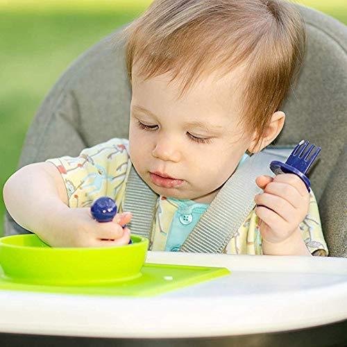 Choke Protection Toddler Utensils 2 Pcs//Set Self-feeding Guide Baby Bowl for Baby Self Feeding Traning Delisouls Babyware Spoon Fork Set