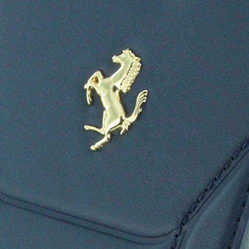 Ferrari FESEGFLBKP7BL Booktype Schutzhülle für Apple iPhone 7 Echtleder blau/gold