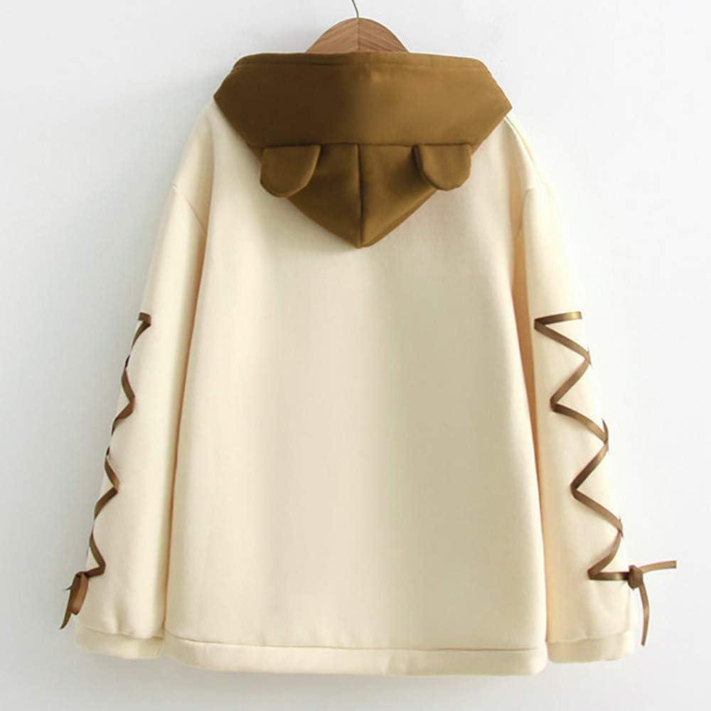 Women Teen Girls Cute Hoodie Sweatshirt Oversized Fashion Bear Printed with A Ribbon Hair Ball Long Sleeve Pullover
