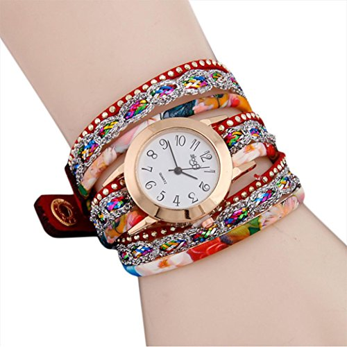 Hunputa Fashion Womens Girls Boho Floral Handmade Multi Rounds Bands Leather Rivet Wrist Watch Gift (Red) ()