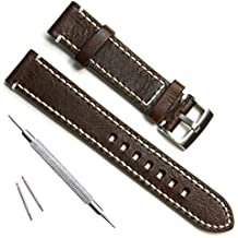Handmade Vintage Replacement Leather Watch Strap/Watch Band (23mm, Sliver Buckle/Coffee)