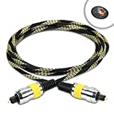 DATASTREAM Digital Audio Optical TOSLink Cable (6') w/ High Fidelity Audio Transfer & Nylon Braided Cable - Works with GoGroove BlueSync SBR , VIZIO SB2920-C6 , Yamaha YAS-203 and More Sound Bars