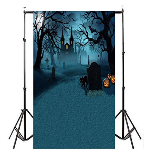 Dacawin Halloween Pumpkin Photography Backdrops, Lantern Photo Backgrounds Wrinkle Free Seamless Cotton Cloth(3x5FT) (H) ()