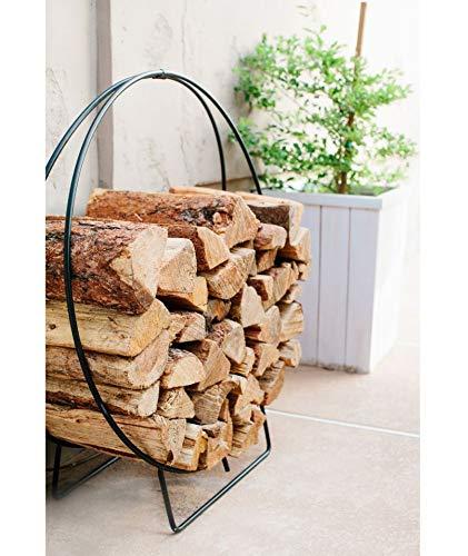 (3ft Firewood Rack Hoop Outdoor Log Storage Holder Large Heavy Duty Wrought Iron)