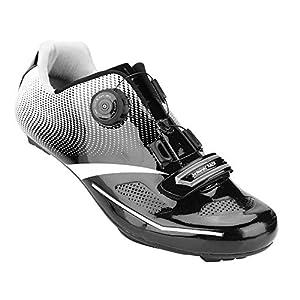 51jWwdFBCbL. SS300 Alomejor Scarpe da Ciclismo Anti-Skid Sistema di Blocco Scarpe da Bici da Strada Traspirante Uomo Adulto