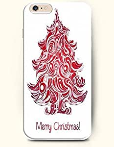 OOFIT Authentic Cases for iPhone 6 (4.7inch) - Hard Back Plastic Case /Merry Christmas Xmas / Red White Christmas Trees and Merry Christmas