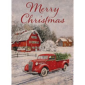 Selmad Home Decorative Merry Christmas Garden Flag Red Truck Double Sided, Winter Rustic Quote House Yard Flag Xmas Pickup, Outside Holiday Yard Decorations ...
