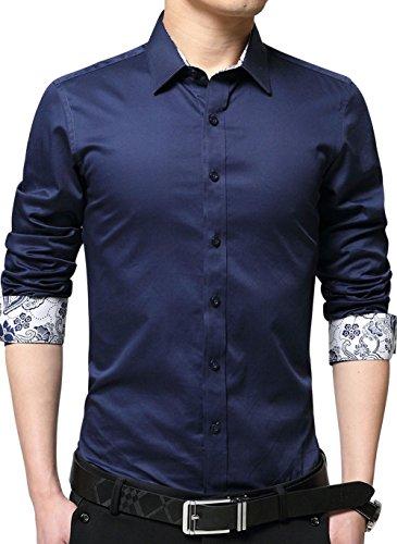 XTAPAN Men's Printed Dress Shirt Long Sleeve Casual Inner Contrast Regular-Fit Shirt US M=Asian 3XL Dark Blue 2215