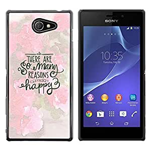 Stuss Case / Funda Carcasa protectora - Many Reasons Happy Rose White Text Inspiring - Sony Xperia M2