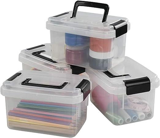 Cadine Juego de 4 Mini Caja de Almacenamiento de Plástico, Caja de Almacenamiento Transparente: Amazon.es: Hogar