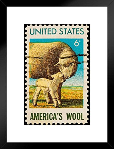 Americas Wool Vintage 1971 Postal Stamp Art Print Matted Framed Wall Art 20x26 inch