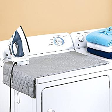 Houseables Ironing Blanket, Magnetic Mat Laundry Pad, 32 1/2  x 17 , Gray, Quilted, Washer Dryer Heat Resistant Pad, Iron Board Alternative Cover