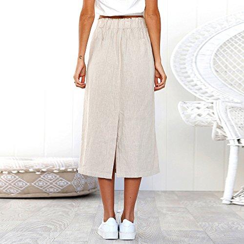Jerfer Taille Mode Été Maxi Blanc Jolie Femme Longue Haute Femmes Décontractée Bohême Jupe Filles Quotidien Bouton Plage Wrap Ligne 08nOPkw