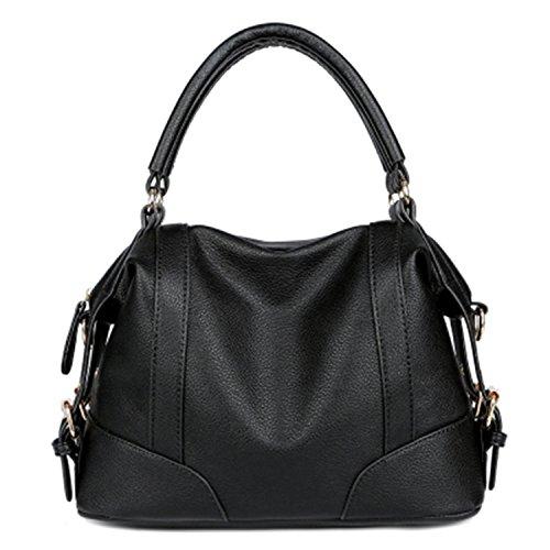 souple Zipper Sacs en Sacs sac sacs Bag Noir Big dames Femme fille main Botia bandoulière à cuir bandoulière à qw14AWx8P