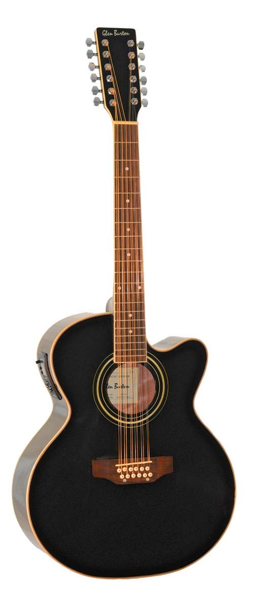 12 String Acoustic Electric Cutaway Jumbo Black Guitar with Built-in Tuner Combo with Gig Bag and Accesories. Guitarra Electrica Acustica Docerola Negra