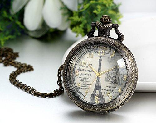 JewelryWe Retro Vintage Pocket Watch Bronze Eiffel Tower Quartz Pocket Watch Necklace Pendant Birthday Gift by Jewelrywe (Image #3)