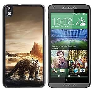 // PHONE CASE GIFT // Duro Estuche protector PC Cáscara Plástico Carcasa Funda Hard Protective Case for HTC DESIRE 816 / Leopardo de nieve /
