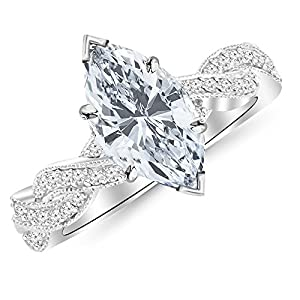 1.28 Cttw 14K White Gold Marquise Cut Vintage Eternity Love Twisting Split Shank Diamond Engagement Ring With Milgrain with a 1 Carat H-I Color SI2-I1 Clarity Center
