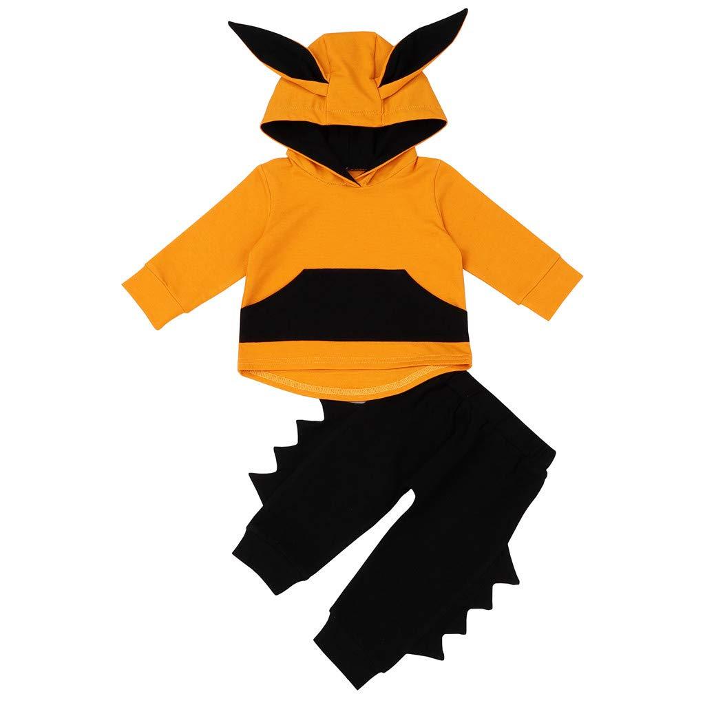 NUWFOR Newborn Infant Baby Girl Boy 3D Ear Hoodie Sweatshirt Tops+Pants Set Clothes (Yellow,3-6Months)