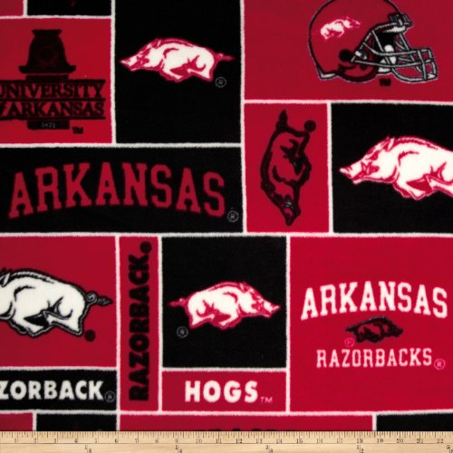 Sykel Enterprises Collegiate Fleece University of Arkansas Fabric by The Yard, Multi