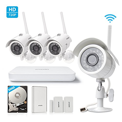Zmodo All-in-One Wireless Outdoor Indoor Smart Home Security Camera 4CH NVR System 500GB Hard Drive with Zmodo Beam and 2 Pack Door/Window Sensors Zmodo