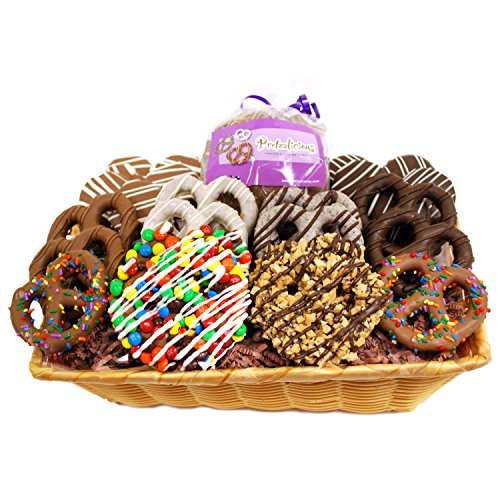 Hand Dipped Pretzels - All City Candy's Delicious Collection Gourmet Hand Dipped Chocolate Covered Pretzels and Cookies Basket