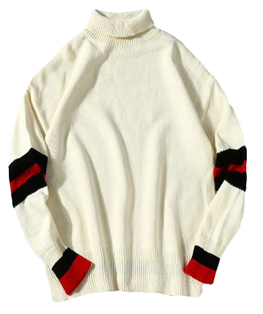 X-Future Mens Long Sleeve Casual Colorblock Turtleneck Pullover Tops Knit Sweater