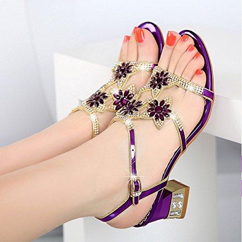 HBDLH Rough Tacones Sandalias Verano Taladro De Agua Zapatos De Mujer de 5 Cm De Tacón Alto Cristal Diamante.Treinta Y Nueve Violeta Thirty-nine|Violet