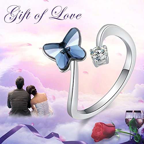 SUE'S SECRET Swarovski Element Ring Blue Love Butterfly Stone with Swarovski Crystal, Ajustable M Size, Fashion Love Gifts by SUE'S SECRET (Image #1)