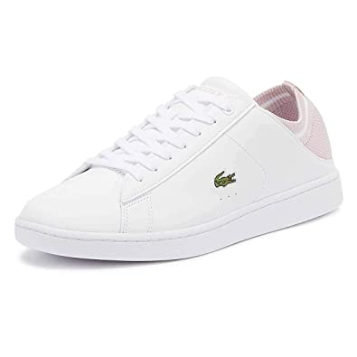 01d70c35a61035 Amazon.com | Lacoste Women's Carnaby Evo Duo 119 1 Trainer White/Light Pink -White-6-women's | Fashion Sneakers