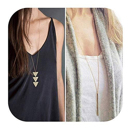 Defiro Y Layer Simple Bar Pendant Necklace Center Long Lariat Chain For Women - Pendant Long Necklace Chain