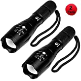 YIFENG XML-T6 Portable 1600 Lumen CREE LED Tactical Flashlight with 5 Light Modes and Zoom Function, 2 pack