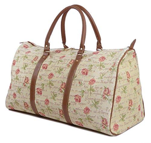 Weekend Reisetasche / Gepäck Tasche / Reisetasche (groß) Rosen - Royaltex Gobelin Stil
