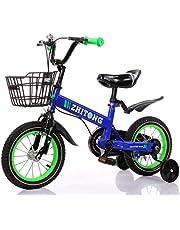 دراجة الأطفال ZHITONG مع عجلات التدريب وسلة معدنية 40.64 سم، أزرق